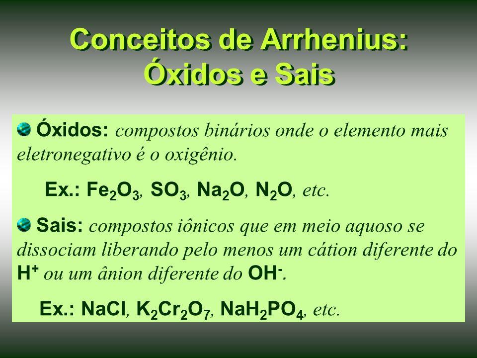 Conceitos de Arrhenius: Óxidos e Sais Óxidos: compostos binários onde o elemento mais eletronegativo é o oxigênio.