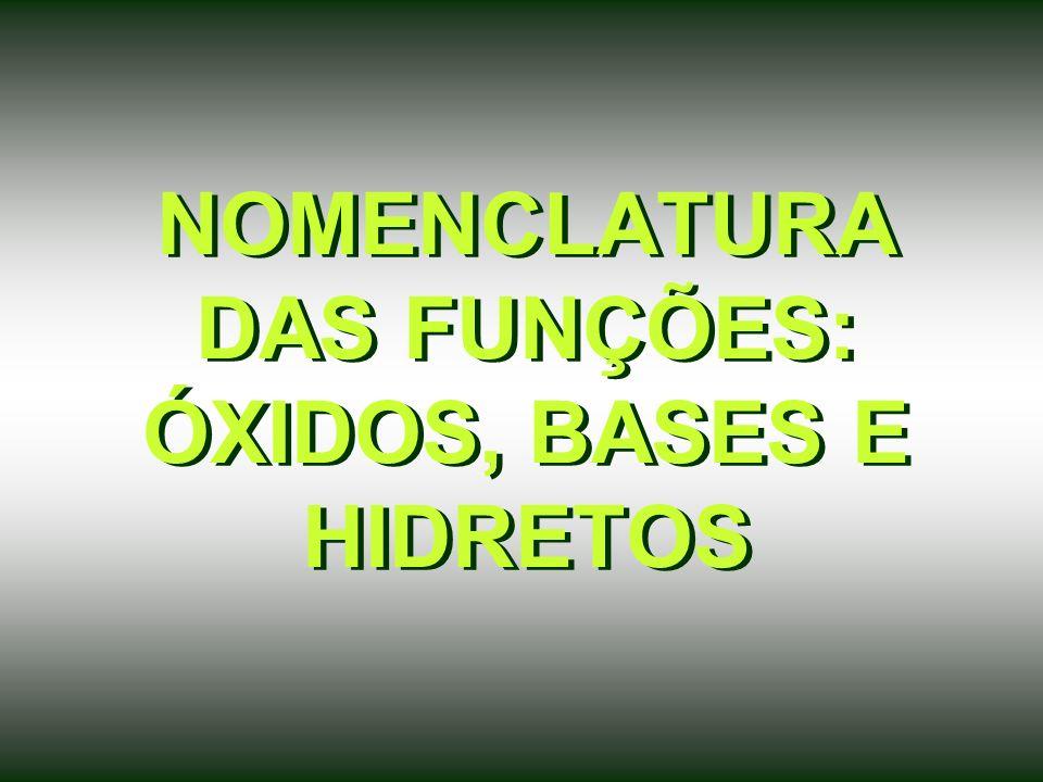 NOMENCLATURA DAS FUNÇÕES: ÓXIDOS, BASES E HIDRETOS