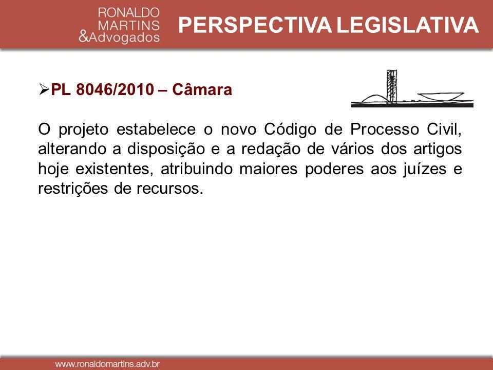 PERSPECTIVA LEGISLATIVA PL 8046/2010 – Câmara O projeto estabelece o novo Código de Processo Civil, alterando a disposição e a redação de vários dos a