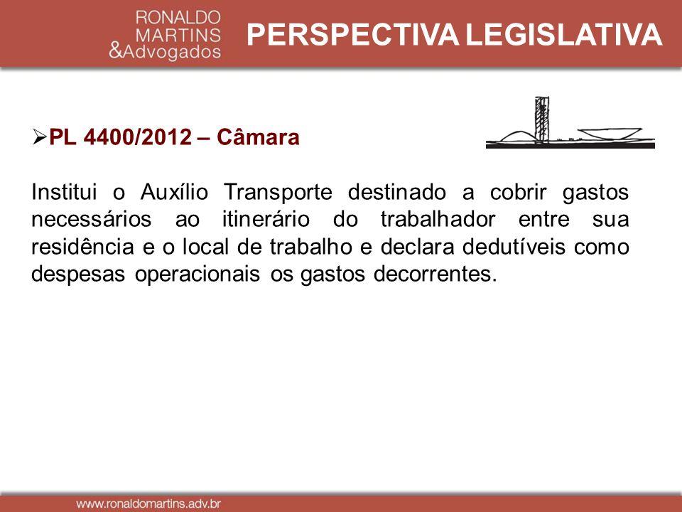 PERSPECTIVA LEGISLATIVA PL 4400/2012 – Câmara Institui o Auxílio Transporte destinado a cobrir gastos necessários ao itinerário do trabalhador entre s
