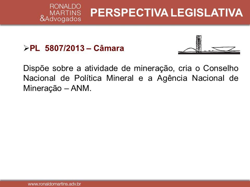 PERSPECTIVA LEGISLATIVA PL 5807/2013 – Câmara Dispõe sobre a atividade de mineração, cria o Conselho Nacional de Política Mineral e a Agência Nacional