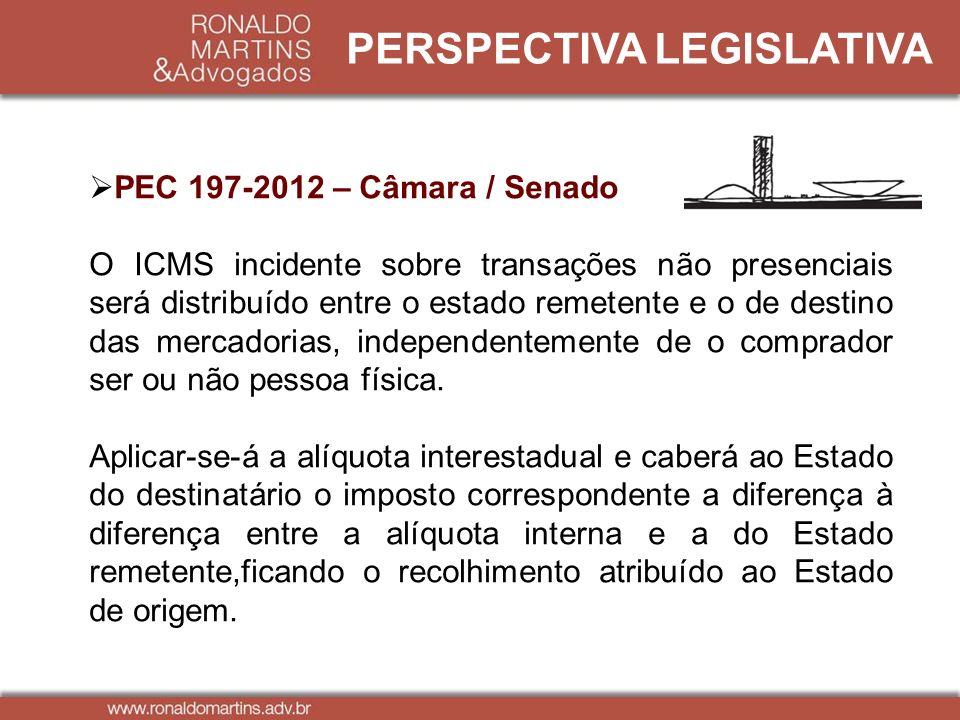 PERSPECTIVA LEGISLATIVA PEC 197-2012 – Câmara / Senado O ICMS incidente sobre transações não presenciais será distribuído entre o estado remetente e o