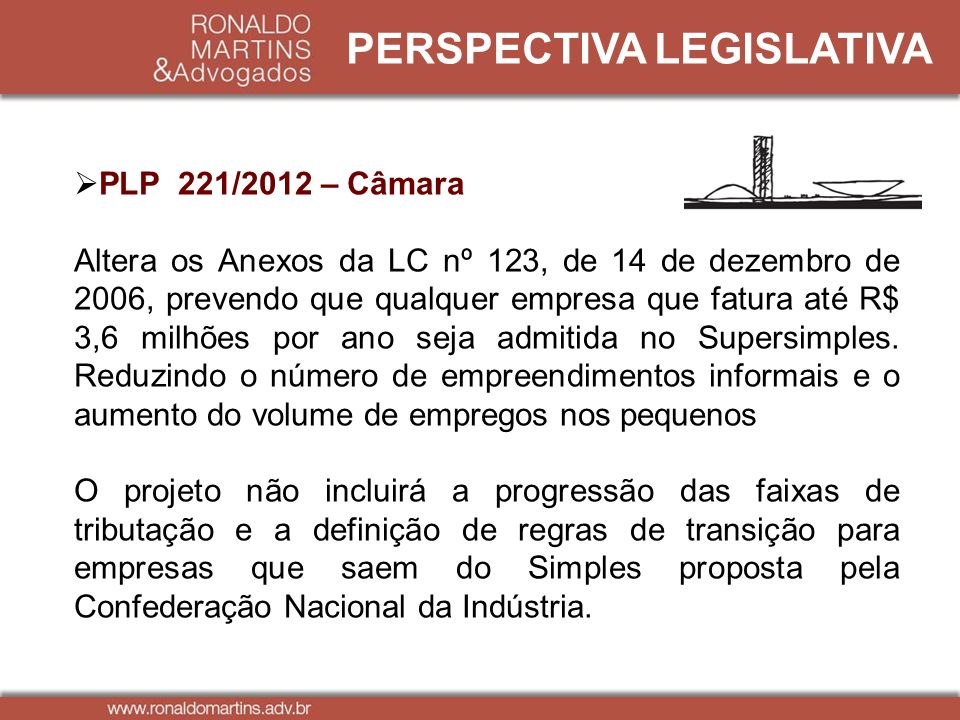 PERSPECTIVA LEGISLATIVA PLP 221/2012 – Câmara Altera os Anexos da LC nº 123, de 14 de dezembro de 2006, prevendo que qualquer empresa que fatura até R