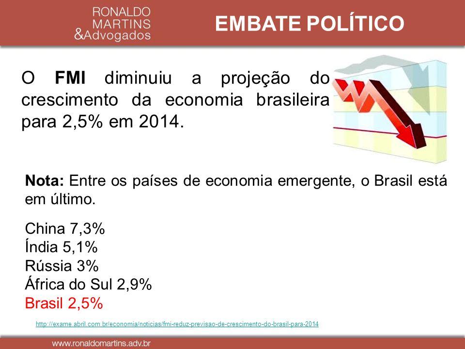 http://exame.abril.com.br/economia/noticias/fmi-reduz-previsao-de-crescimento-do-brasil-para-2014 EMBATE POLÍTICO O FMI diminuiu a projeção do crescim