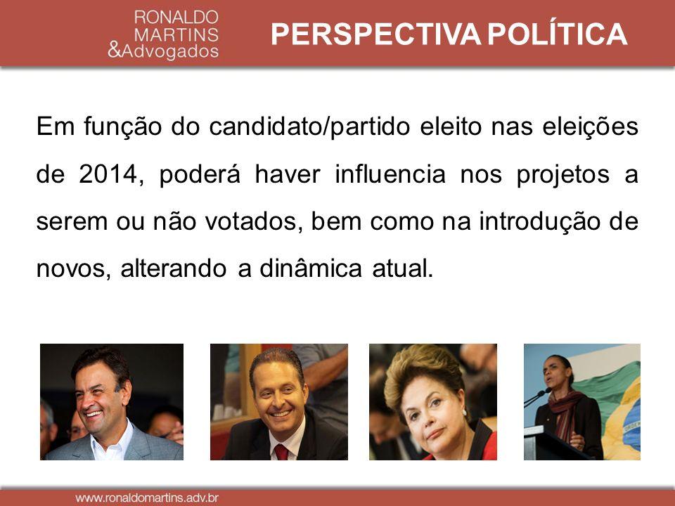 Em função do candidato/partido eleito nas eleições de 2014, poderá haver influencia nos projetos a serem ou não votados, bem como na introdução de nov