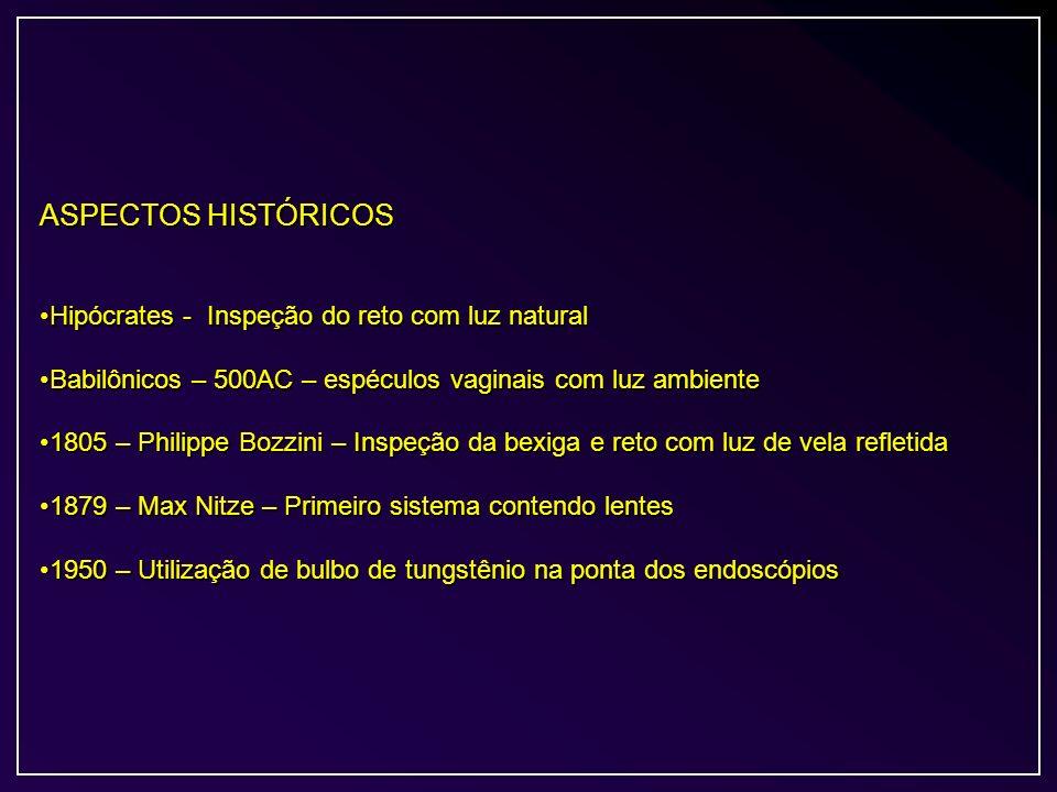 ASPECTOS HISTÓRICOS Hipócrates - Inspeção do reto com luz naturalHipócrates - Inspeção do reto com luz natural Babilônicos – 500AC – espéculos vaginai