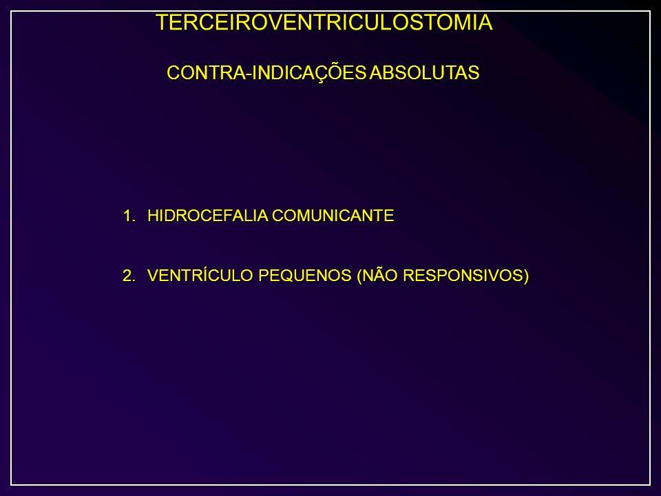 TERCEIROVENTRICULOSTOMIA CONTRA-INDICAÇÕES ABSOLUTAS 1.HIDROCEFALIA COMUNICANTE 2.VENTRÍCULO PEQUENOS (NÃO RESPONSIVOS)