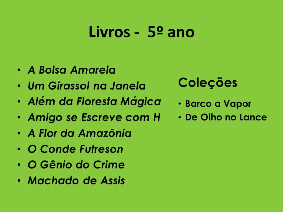 Livros - 5º ano A Bolsa Amarela Um Girassol na Janela Além da Floresta Mágica Amigo se Escreve com H A Flor da Amazônia O Conde Futreson O Gênio do Cr