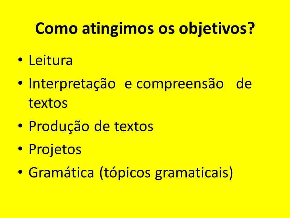 Como atingimos os objetivos? Leitura Interpretação e compreensão de textos Produção de textos Projetos Gramática (tópicos gramaticais)