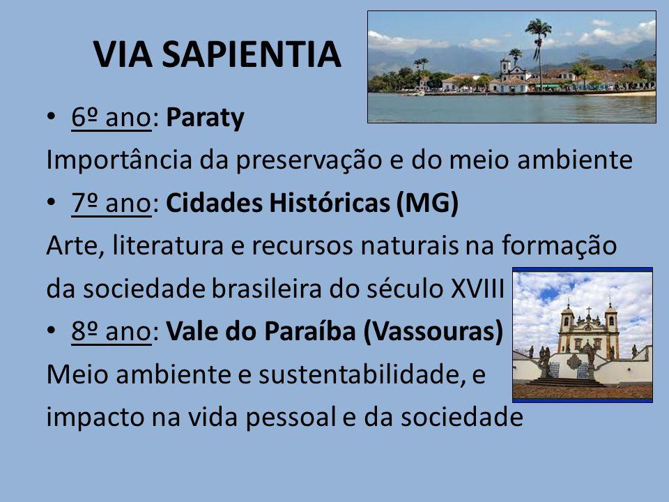 VIA SAPIENTIA 6º ano: Paraty Importância da preservação e do meio ambiente 7º ano: Cidades Históricas (MG) Arte, literatura e recursos naturais na for