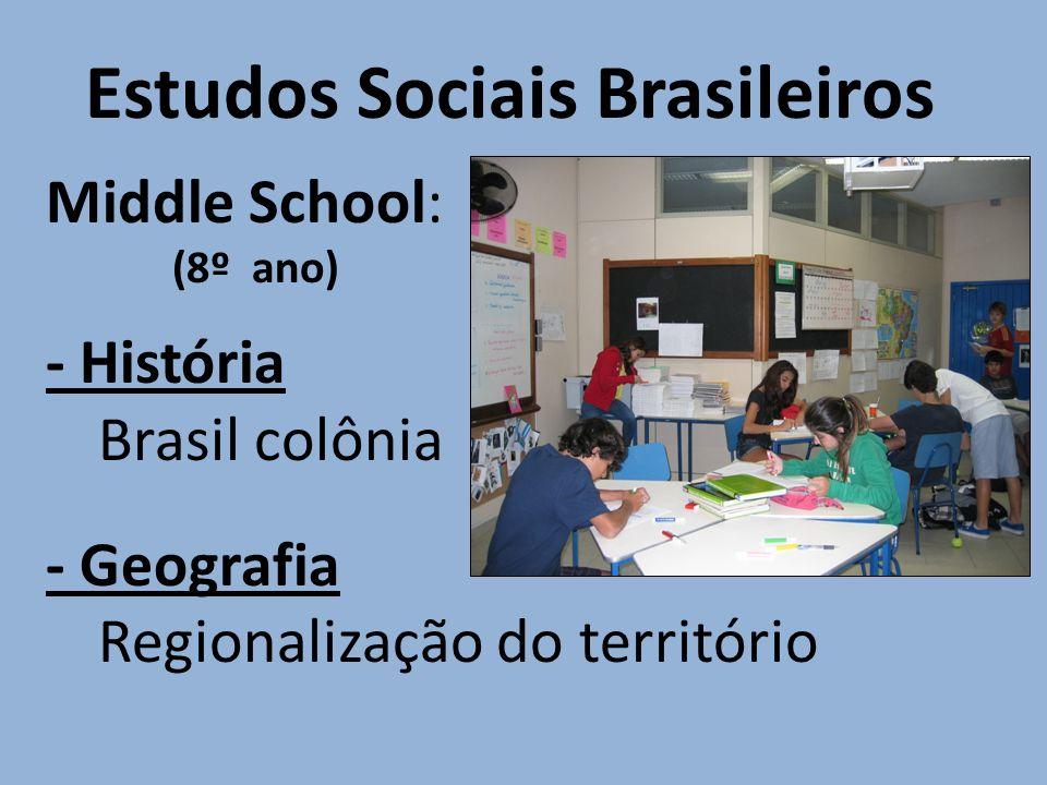 Estudos Sociais Brasileiros Middle School: (8º ano) - História Brasil colônia - Geografia Regionalização do território