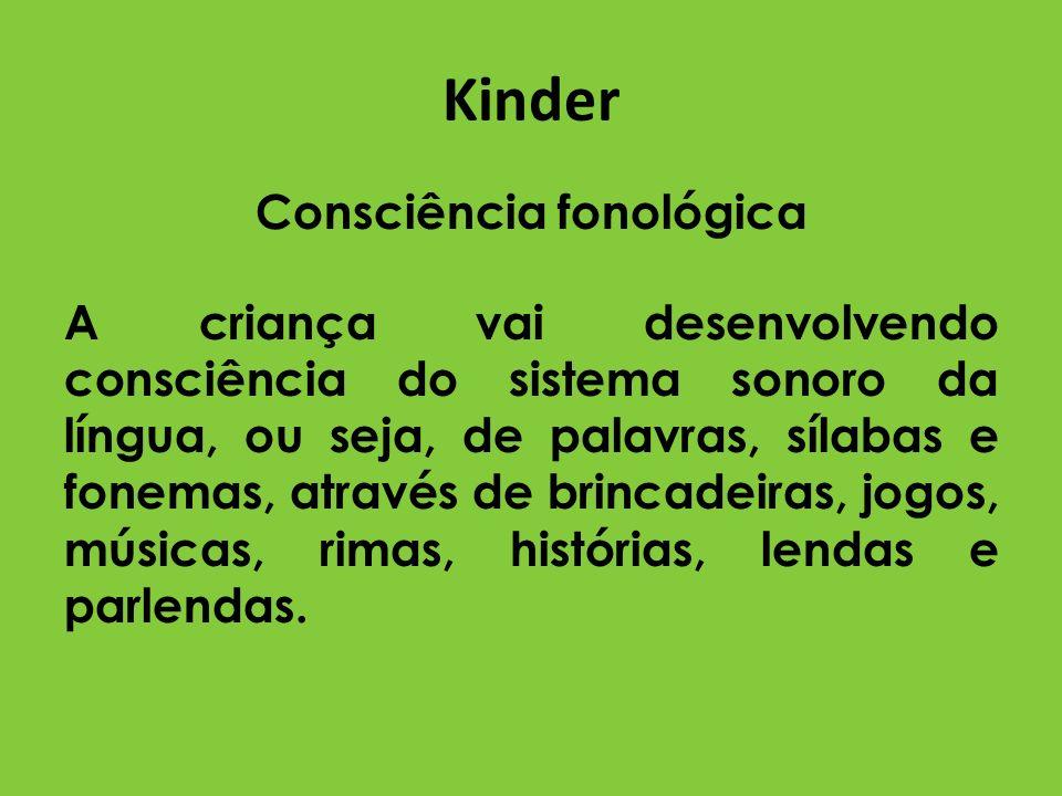 Kinder Consciência fonológica A criança vai desenvolvendo consciência do sistema sonoro da língua, ou seja, de palavras, sílabas e fonemas, através de