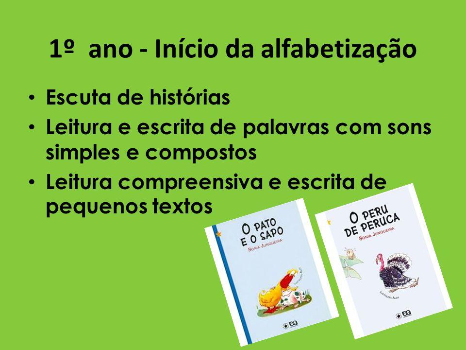 1º ano - Início da alfabetização Escuta de histórias Leitura e escrita de palavras com sons simples e compostos Leitura compreensiva e escrita de pequ