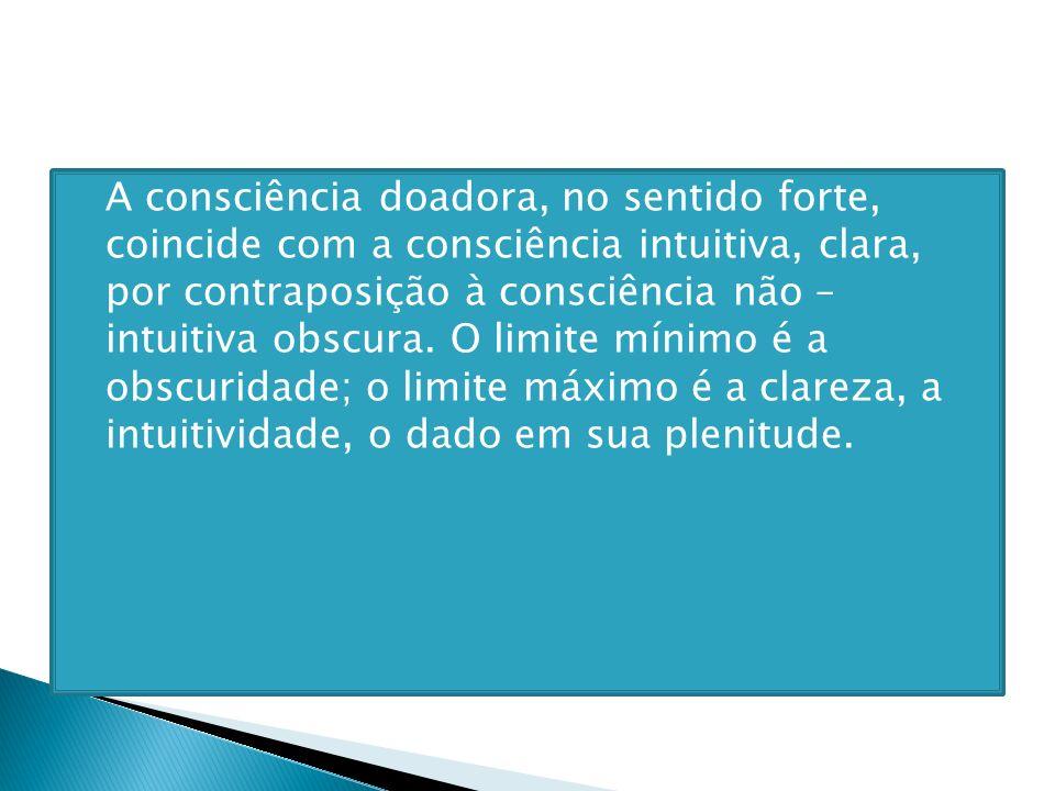 A consciência doadora, no sentido forte, coincide com a consciência intuitiva, clara, por contraposição à consciência não – intuitiva obscura. O limit