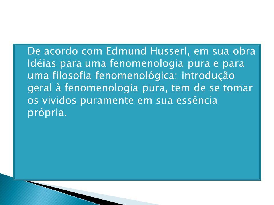 De acordo com Edmund Husserl, em sua obra Idéias para uma fenomenologia pura e para uma filosofia fenomenológica: introdução geral à fenomenologia pur