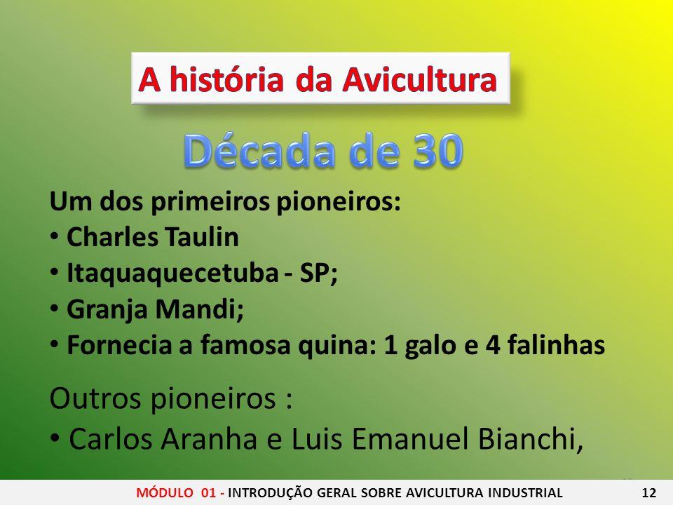 13 Um dos primeiros pioneiros: Charles Taulin Itaquaquecetuba - SP; Granja Mandi; Fornecia a famosa quina: 1 galo e 4 falinhas Outros pioneiros : Carl