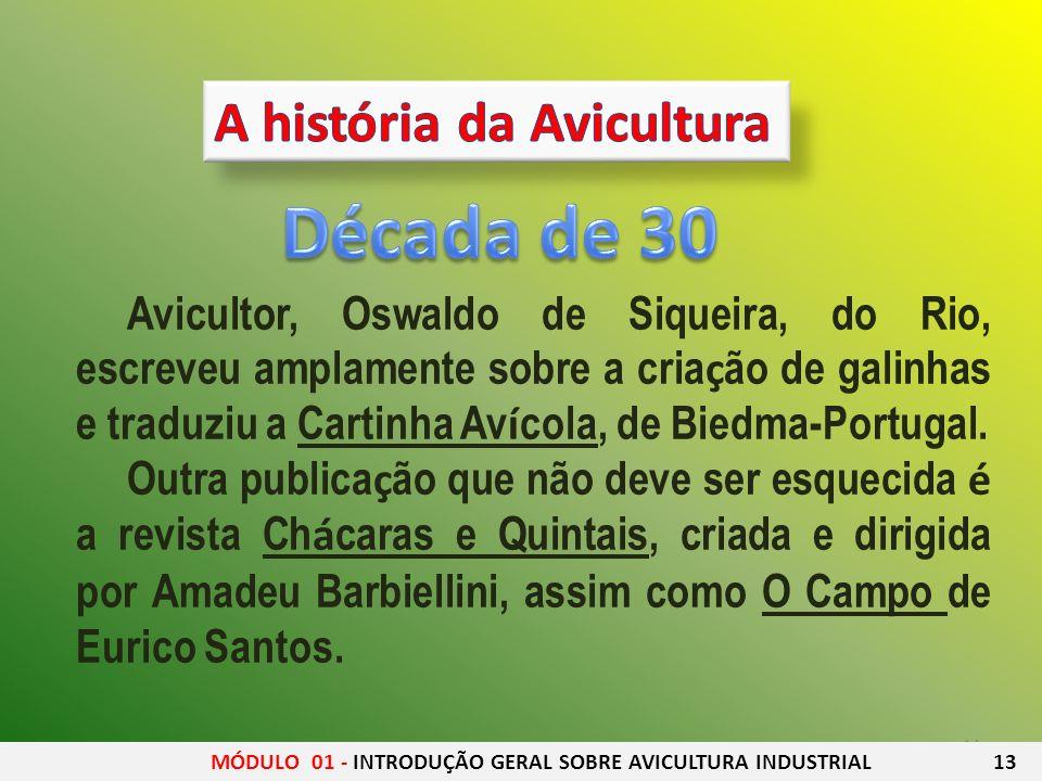 14 Avicultor, Oswaldo de Siqueira, do Rio, escreveu amplamente sobre a cria ç ão de galinhas e traduziu a Cartinha Av í cola, de Biedma-Portugal. Outr
