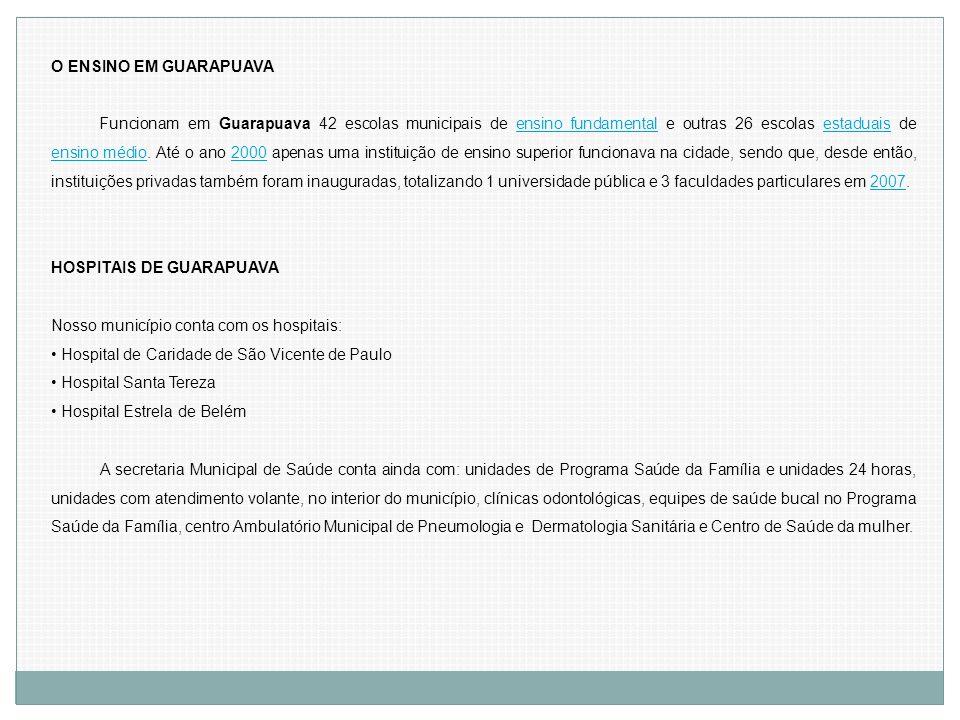 O ENSINO EM GUARAPUAVA Funcionam em Guarapuava 42 escolas municipais de ensino fundamental e outras 26 escolas estaduais de ensino médio. Até o ano 20