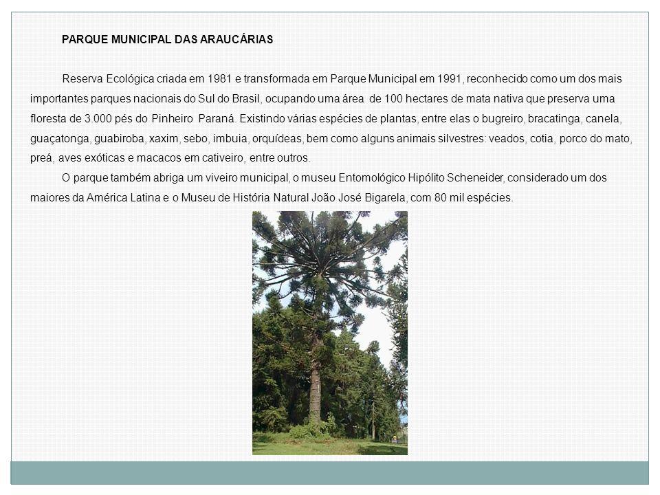 PARQUE MUNICIPAL DAS ARAUCÁRIAS Reserva Ecológica criada em 1981 e transformada em Parque Municipal em 1991, reconhecido como um dos mais importantes