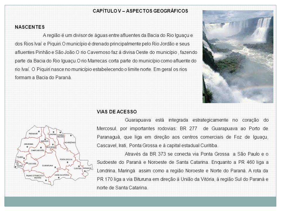 CAPÍTULO V – ASPECTOS GEOGRÁFICOS NASCENTES A região é um divisor de águas entre afluentes da Bacia do Rio Iguaçu e dos Rios Ivaí e Piquiri.O municípi