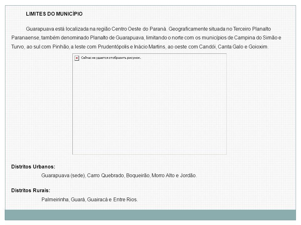 LIMITES DO MUNICÍPIO Guarapuava está localizada na região Centro Oeste do Paraná. Geograficamente situada no Terceiro Planalto Paranaense, também deno