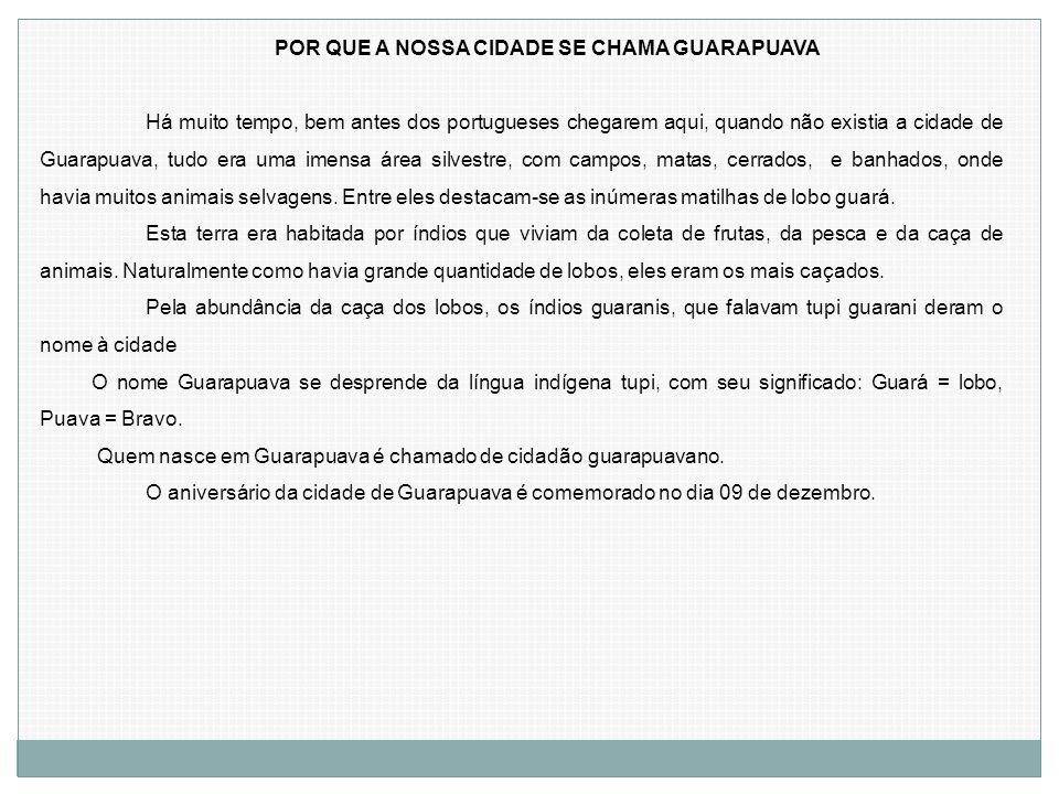 POR QUE A NOSSA CIDADE SE CHAMA GUARAPUAVA Há muito tempo, bem antes dos portugueses chegarem aqui, quando não existia a cidade de Guarapuava, tudo er