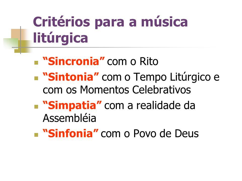 Critérios para a música litúrgica Sincronia com o Rito Sintonia com o Tempo Litúrgico e com os Momentos Celebrativos Simpatia com a realidade da Assem