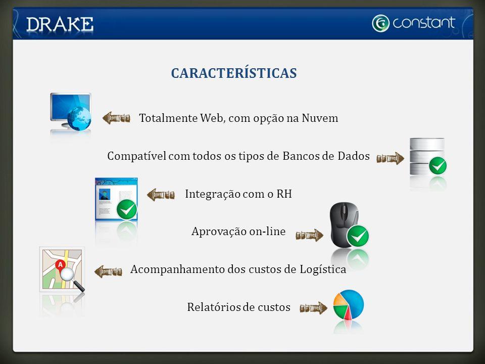 CARACTERÍSTICAS Totalmente Web, com opção na Nuvem Compatível com todos os tipos de Bancos de Dados Integração com o RH Aprovação on-line Acompanhamento dos custos de Logística Relatórios de custos