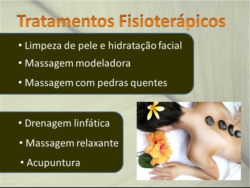 Acupuntura Drenagem linfática Massagem com pedras quentes Massagem modeladora Massagem relaxante Limpeza de pele e hidratação facial