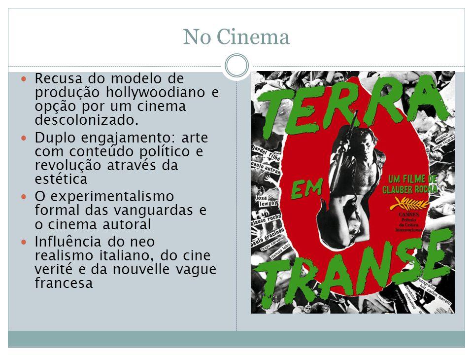 No Cinema Recusa do modelo de produção hollywoodiano e opção por um cinema descolonizado. Duplo engajamento: arte com conteúdo político e revolução at