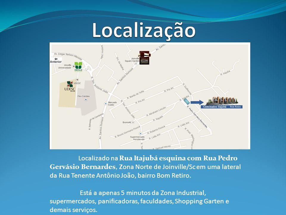 Localizado na Rua Itajubá esquina com Rua Pedro Gervásio Bernardes, Zona Norte de Joinville/Sc em uma lateral da Rua Tenente Antônio João, bairro Bom