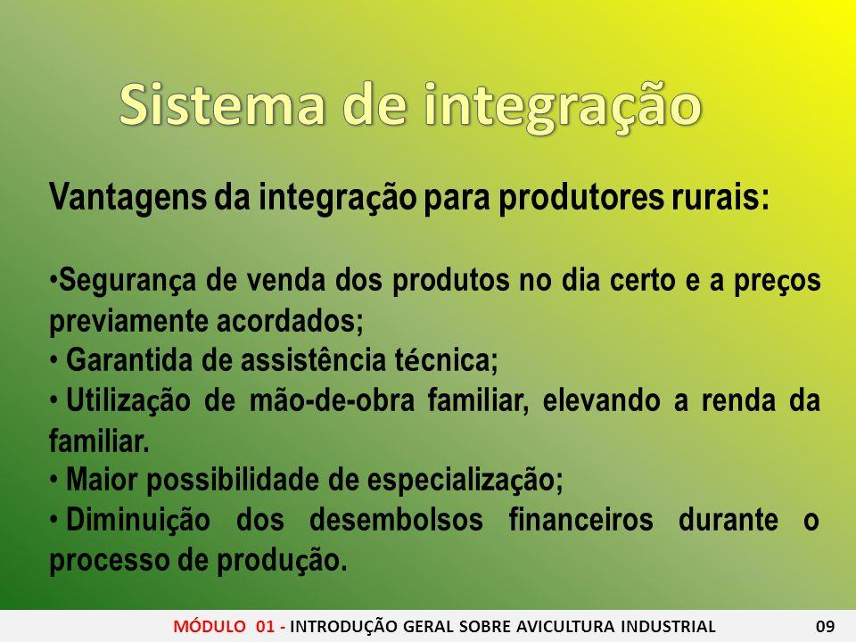 Vantagens da integra ç ão para produtores rurais: Seguran ç a de venda dos produtos no dia certo e a pre ç os previamente acordados; Garantida de assi