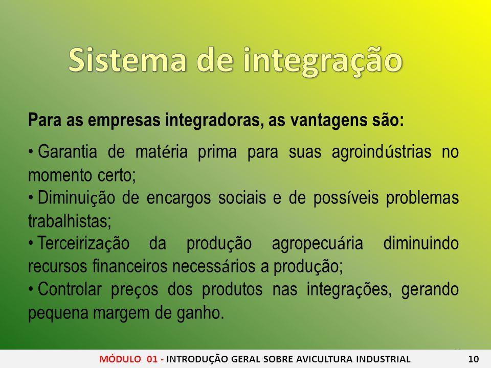 11 Para as empresas integradoras, as vantagens são: Garantia de mat é ria prima para suas agroind ú strias no momento certo; Diminui ç ão de encargos