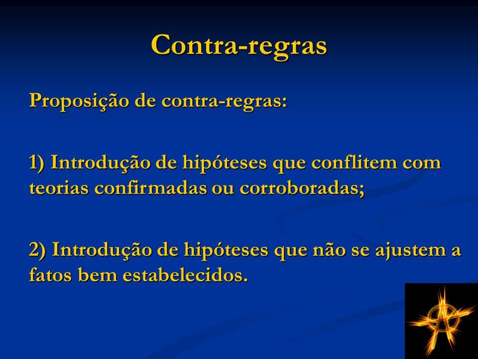 Contra-regras Proposição de contra-regras: 1) Introdução de hipóteses que conflitem com teorias confirmadas ou corroboradas; 2) Introdução de hipóteses que não se ajustem a fatos bem estabelecidos.