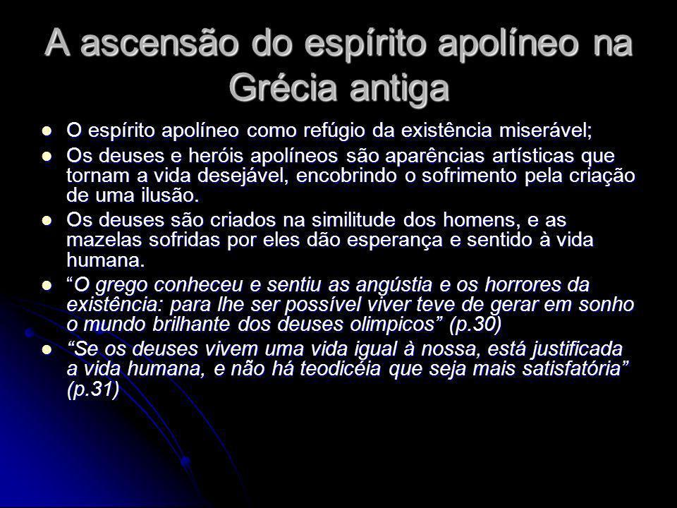 A ascensão do espírito apolíneo na Grécia antiga O espírito apolíneo como refúgio da existência miserável; O espírito apolíneo como refúgio da existên