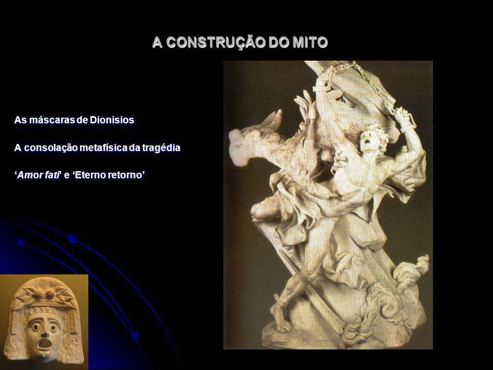 A CONSTRUÇÃO DO MITO As máscaras de Dionisios A consolação metafísica da tragédia Amor fati e Eterno retornoAmor fati e Eterno retorno