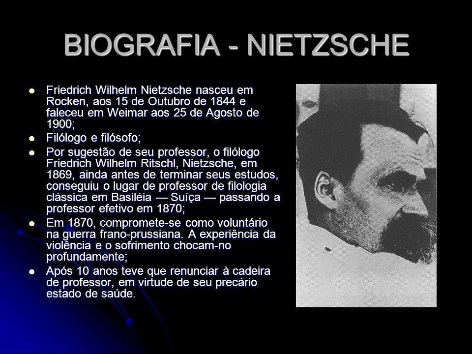 BIOGRAFIA - NIETZSCHE Friedrich Wilhelm Nietzsche nasceu em Rocken, aos 15 de Outubro de 1844 e faleceu em Weimar aos 25 de Agosto de 1900; Friedrich