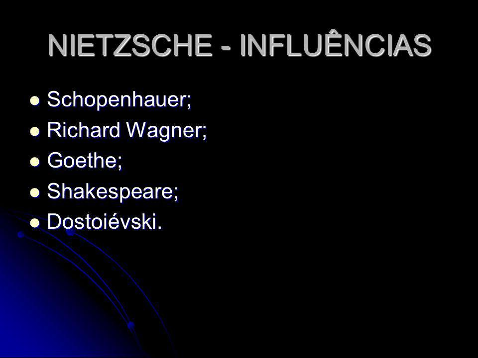NIETZSCHE - INFLUÊNCIAS Schopenhauer; Schopenhauer; Richard Wagner; Richard Wagner; Goethe; Goethe; Shakespeare; Shakespeare; Dostoiévski. Dostoiévski