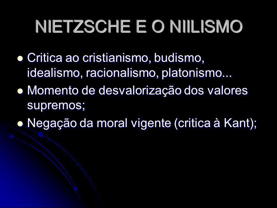 NIETZSCHE E O NIILISMO Critica ao cristianismo, budismo, idealismo, racionalismo, platonismo... Critica ao cristianismo, budismo, idealismo, racionali