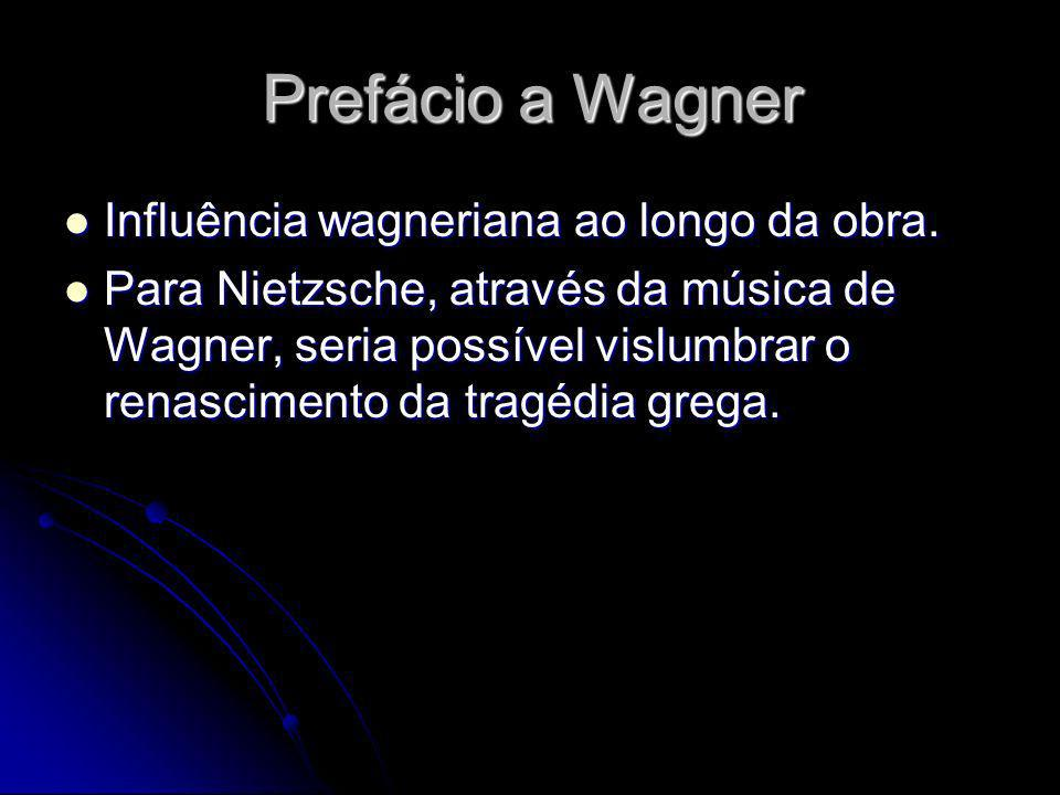 Prefácio a Wagner Influência wagneriana ao longo da obra. Influência wagneriana ao longo da obra. Para Nietzsche, através da música de Wagner, seria p