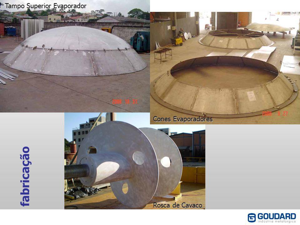 fabricação Tampo Superior Evaporador Cones Evaporadores Rosca de Cavaco