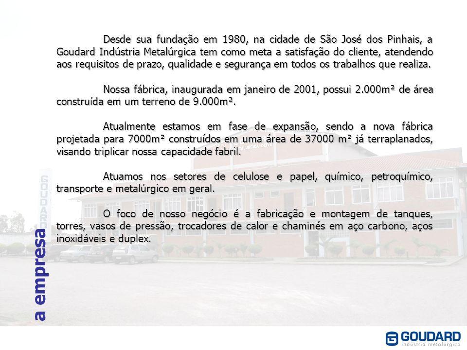 a empresa Desde sua fundação em 1980, na cidade de São José dos Pinhais, a Goudard Indústria Metalúrgica tem como meta a satisfação do cliente, atende