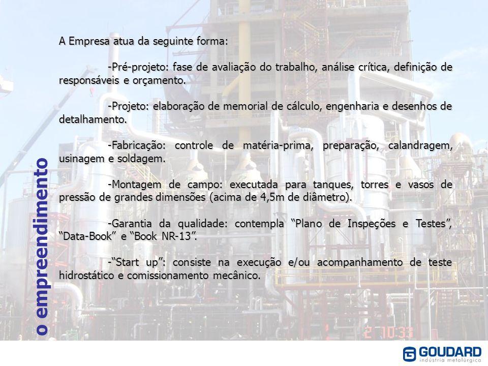 o empreendimento A Empresa atua da seguinte forma: -Pré-projeto: fase de avaliação do trabalho, análise crítica, definição de responsáveis e orçamento