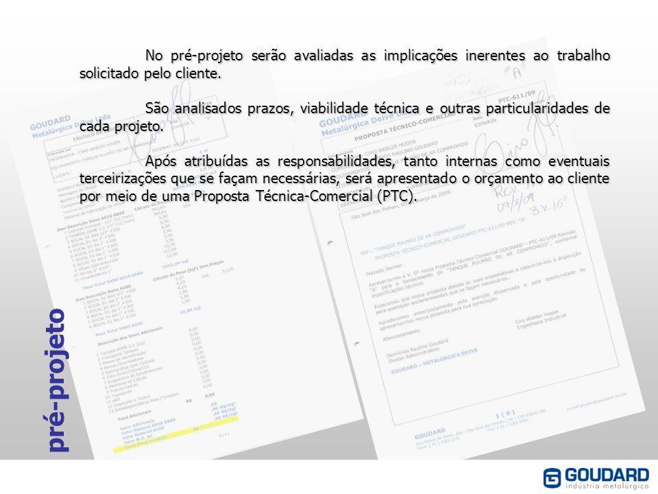pré-projeto No pré-projeto serão avaliadas as implicações inerentes ao trabalho solicitado pelo cliente. São analisados prazos, viabilidade técnica e
