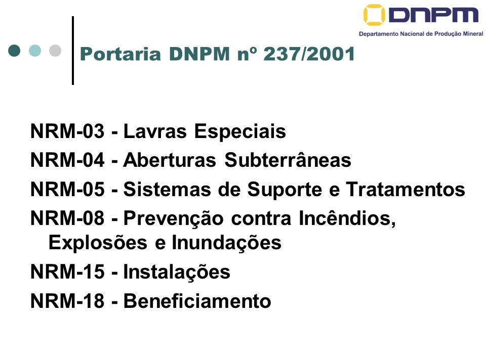 Portaria DNPM nº 237/2001 NRM-03 - Lavras Especiais NRM-04 - Aberturas Subterrâneas NRM-05 - Sistemas de Suporte e Tratamentos NRM-08 - Prevenção contra Incêndios, Explosões e Inundações NRM-15 - Instalações NRM-18 - Beneficiamento