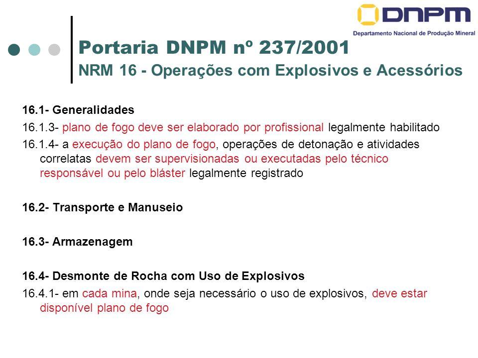 Portaria DNPM nº 237/2001 NRM 16 - Operações com Explosivos e Acessórios 16.1- Generalidades 16.1.3- plano de fogo deve ser elaborado por profissional legalmente habilitado 16.1.4- a execução do plano de fogo, operações de detonação e atividades correlatas devem ser supervisionadas ou executadas pelo técnico responsável ou pelo bláster legalmente registrado 16.2- Transporte e Manuseio 16.3- Armazenagem 16.4- Desmonte de Rocha com Uso de Explosivos 16.4.1- em cada mina, onde seja necessário o uso de explosivos, deve estar disponível plano de fogo