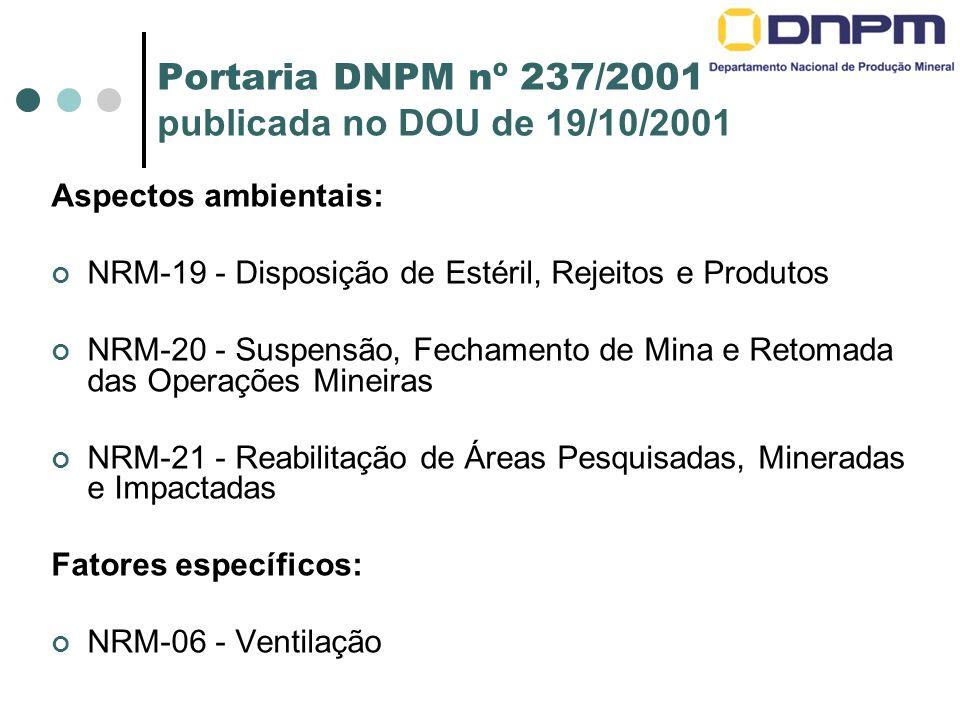 Portaria DNPM nº 237/2001 publicada no DOU de 19/10/2001 Aspectos ambientais: NRM-19 - Disposição de Estéril, Rejeitos e Produtos NRM-20 - Suspensão, Fechamento de Mina e Retomada das Operações Mineiras NRM-21 - Reabilitação de Áreas Pesquisadas, Mineradas e Impactadas Fatores específicos: NRM-06 - Ventilação