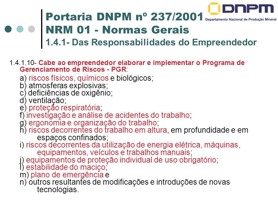 Portaria DNPM nº 237/2001 NRM 01 - Normas Gerais 1.4.1- Das Responsabilidades do Empreendedor 1.4.1.10- Cabe ao empreendedor elaborar e implementar o Programa de Gerenciamento de Riscos - PGR: a) riscos físicos, químicos e biológicos; b) atmosferas explosivas; c) deficiências de oxigênio; d) ventilação; e) proteção respiratória; f) investigação e análise de acidentes do trabalho; g) ergonomia e organização do trabalho; h) riscos decorrentes do trabalho em altura, em profundidade e em espaços confinados; i) riscos decorrentes da utilização de energia elétrica, máquinas, equipamentos, veículos e trabalhos manuais; j) equipamentos de proteção individual de uso obrigatório; l) estabilidade do maciço; m) plano de emergência e n) outros resultantes de modificações e introduções de novas tecnologias.