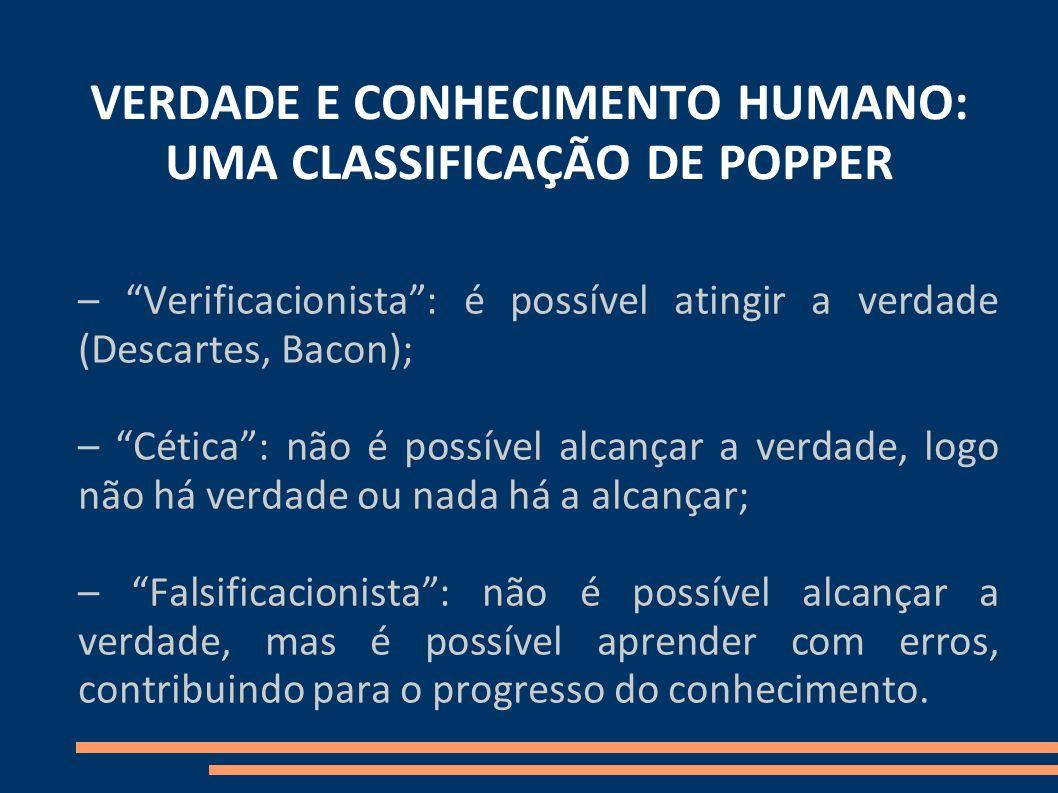 VERDADE E CONHECIMENTO HUMANO: UMA CLASSIFICAÇÃO DE POPPER – Verificacionista: é possível atingir a verdade (Descartes, Bacon); – Cética: não é possív