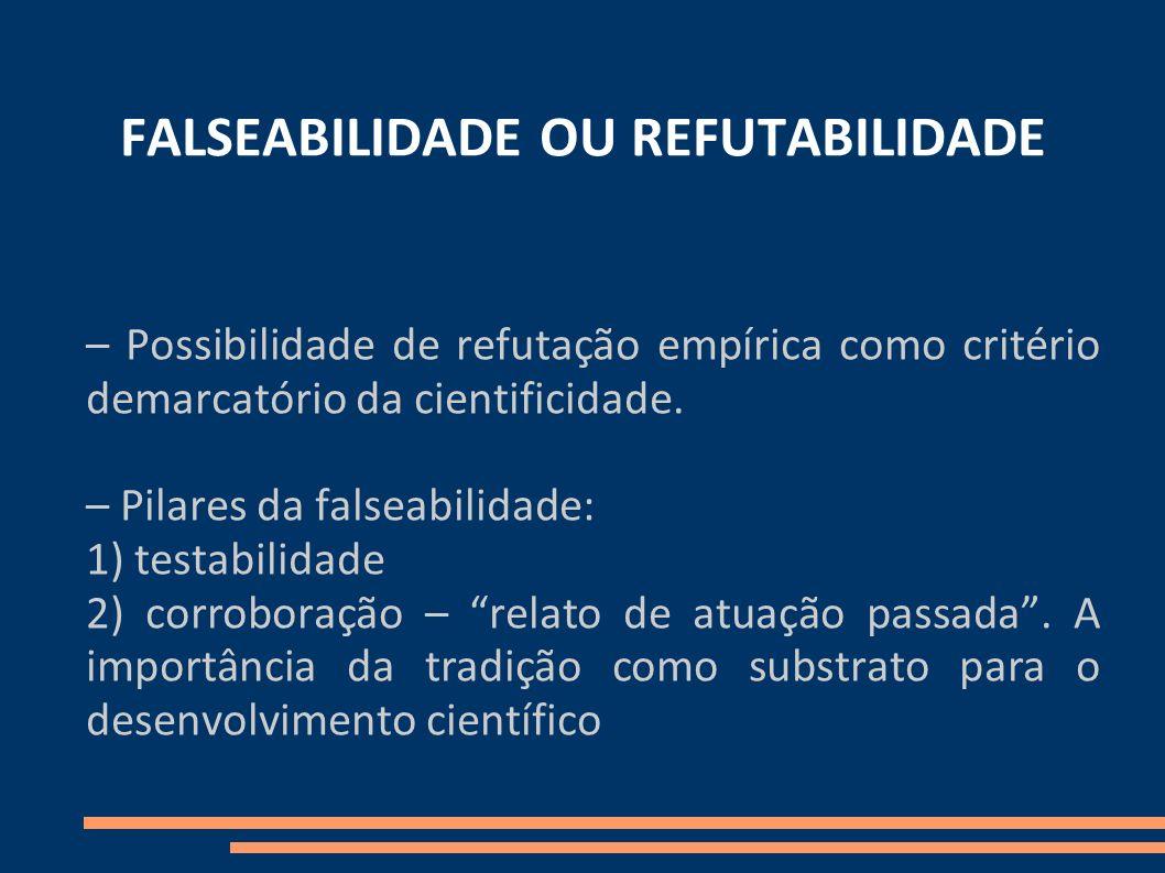 FALSEABILIDADE OU REFUTABILIDADE – Possibilidade de refutação empírica como critério demarcatório da cientificidade. – Pilares da falseabilidade: 1) t